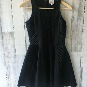 Parker Fay Dress Black Ponte Knit Fit Flare LBD S